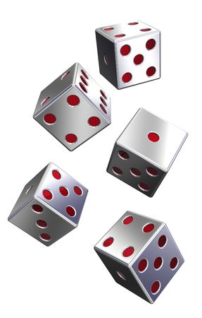 Five silver dices isolated on white. Computer generated 3D photo rendering. Stock Photo