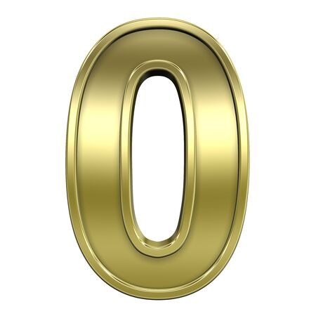 One digit from shiny gold with gold frame alphabet set, isolated on white. Computer generated 3D photo rendering. Stock Photo - 5644801