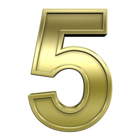 solid figure: Una cifra da oro lucido con cornice oro alfabeto set, isolato su bianco. Computer generated foto 3D rendering.