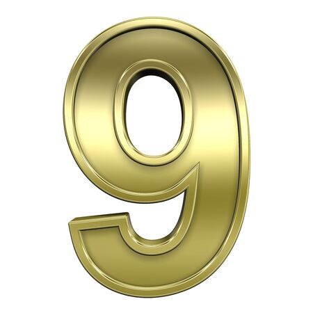 One digit from shiny gold with gold frame alphabet set, isolated on white. Computer generated 3D photo rendering.  Stock Photo - 5644809