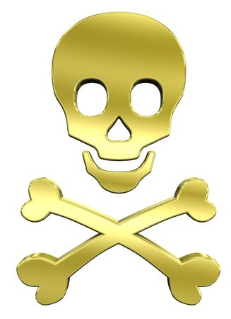 Shiny gold skull and crossbones isolated on white. Computer generated 3D photo rendering.  Stock Photo - 5668531