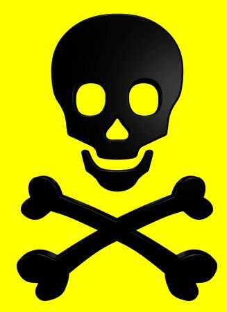 Black skull and crossbones on the yellow background Stock Photo - 5739280