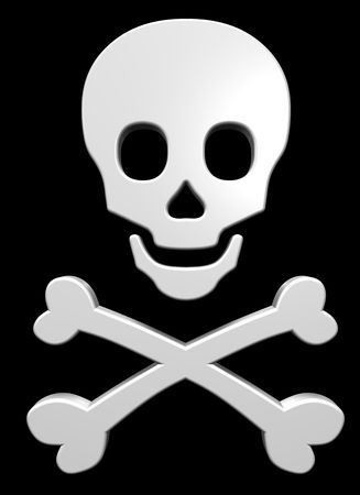 beware: White skull and crossbones on the black background