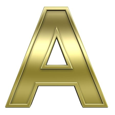 One letter from shiny gold with gold frame alphabet set, isolated on white. Computer generated 3D photo rendering.  photo