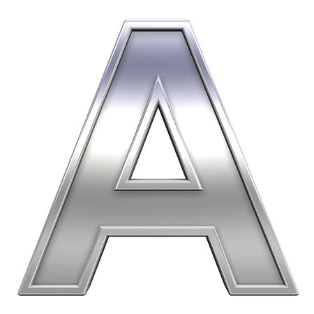 One letter from chrome with frame alphabet set, isolated on white. Computer generated 3D photo rendering. photo