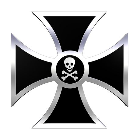 abstract cross: Black choppers cross isolated on white. Computer generated 3D photo rendering.