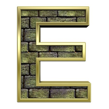 One letter from stone with gold frame alphabet set, isolated on white. Computer generated 3D photo rendering. Stock Photo - 5735702