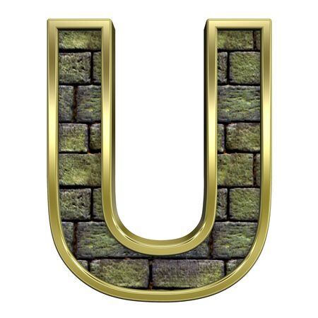 One letter from stone with gold frame alphabet set, isolated on white. Computer generated 3D photo rendering. Stock Photo - 5735701