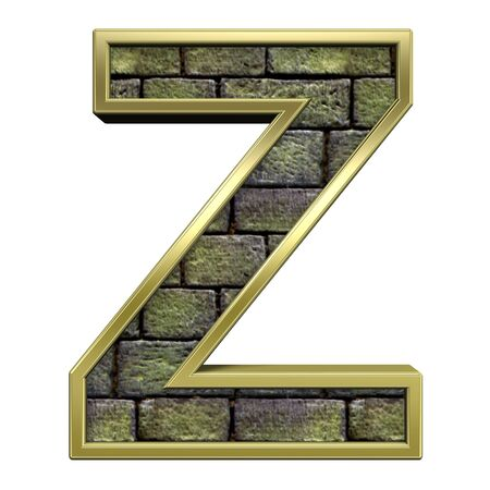 One letter from stone with gold frame alphabet set, isolated on white. Computer generated 3D photo rendering. Stock Photo - 5735704