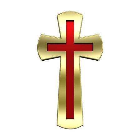 cruz roja: Rub� con marco de oro la Cruz cristiana aislada en blanco. Procesamiento de fotos 3D generados por ordenador.