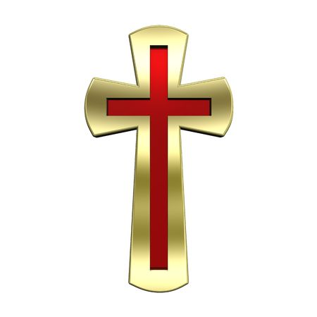 gold cross: Ruby with gold frame Christian cross isolated on white. Computer generated 3D photo rendering.