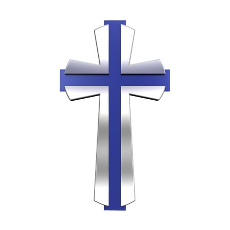 holy cross: Silver Christian cross isolated on white. Computer generated 3D photo rendering.