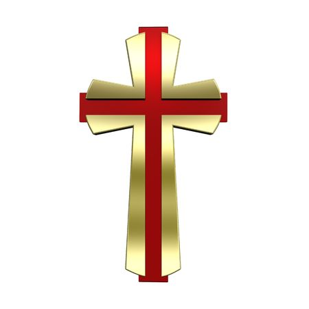 Gold Christian cross isolated on white. Computer generated 3D photo rendering. Stock Photo - 5753997