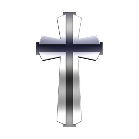 Silver Christian cross isolated on white. Computer generated 3D photo rendering. photo
