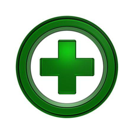 primeramente: Cruz Verde en el c�rculo aislado en blanco Foto de archivo