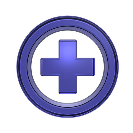Blue cross in the circle isolated on white Stock Photo - 5771106