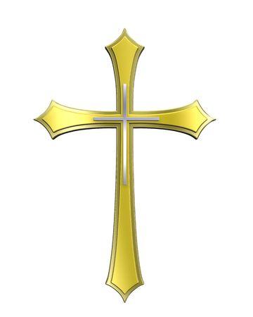 cruz religiosa: Cruz de oro cristiano aislado en blanco. Procesamiento de fotos 3D generados por ordenador.