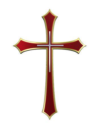 cruz roja: Rub� con marco de oro Cruz cristiana aislado en blanco. Procesamiento de fotos 3D generados por ordenador.