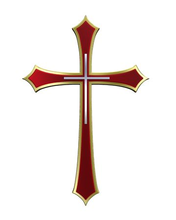 Ruby with gold frame Christian cross isolated on white. Computer generated 3D photo rendering.