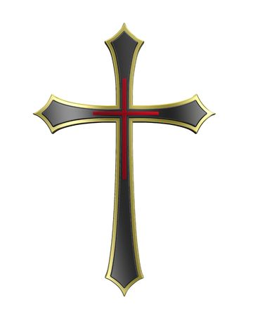 Black with gold frame Christian cross isolated on white. Computer generated 3D photo rendering. Stock Photo