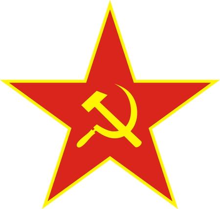 Estrella Roja comunista con la hoz y el martillo en fondo blanco. Ilustración vectorial.