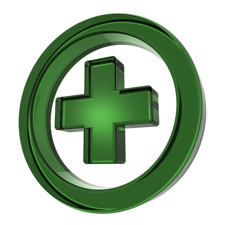 pharmacy equipment: Green cross in the circle isolated on white
