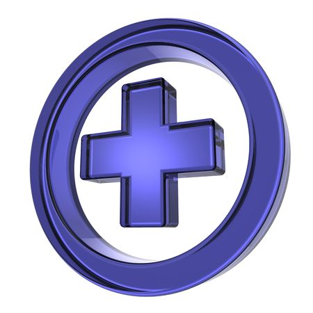 Blue cross in the circle isolated on white photo