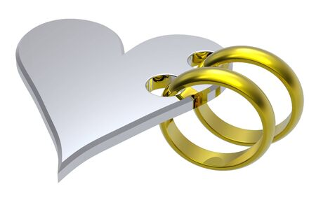 Two gold wedding rings with silver heart. Computer generated 3D photo rendering. photo