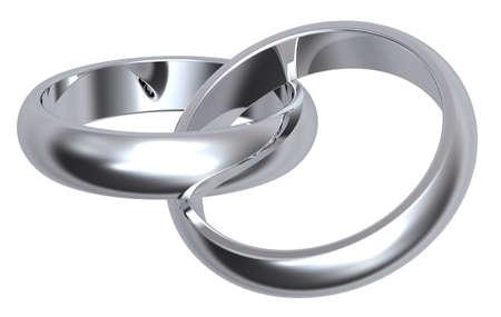 bodas de plata: Dos de plata anillos de boda aislados en blanco. Representaci�n 3d de fotos generados por ordenador.