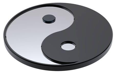 taijitu: Silver Yin-Yang, symbol of harmony. Computer generated 3D photo rendering.