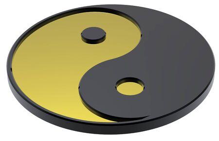taijitu: Gold Yin-Yang, symbol of harmony. Computer generated 3D photo rendering.