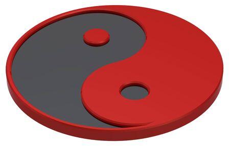 taijitu: Black and red Yin-Yang, symbol of harmony. Computer generated 3D photo rendering.
