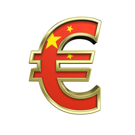Gold Euro sign with China flag isolated on white. Computer generated 3D photo rendering. photo