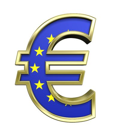 euro symbol: Gold Euro sign with european union flag isolated on white. Computer generated 3D photo rendering.