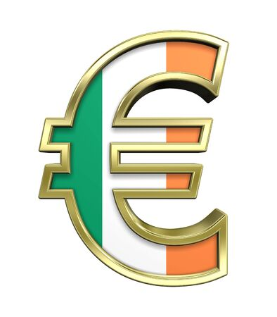 Gold Euro sign with Ireland flag isolated on white. Computer generated 3D photo rendering. photo