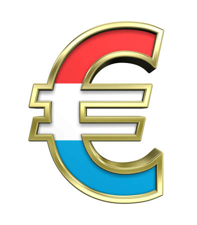 Gold Euro sign with Luxembourg flag isolated on white. Computer generated 3D photo rendering. photo