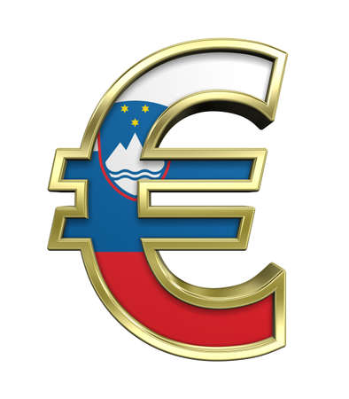 Gold Euro sign with Slovenia flag isolated on white. Computer generated 3D photo rendering. photo