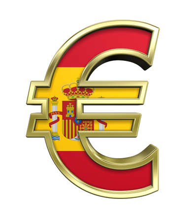 Gold Euro sign with Spain flag isolated on white. Computer generated 3D photo rendering. photo