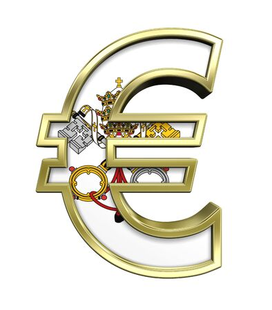 Gold Euro sign with Vatican City flag isolated on white. Computer generated 3D photo rendering. photo