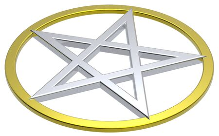 neopaganism: Pentagram isolated on white. Computer generated 3D photo rendering. Stock Photo