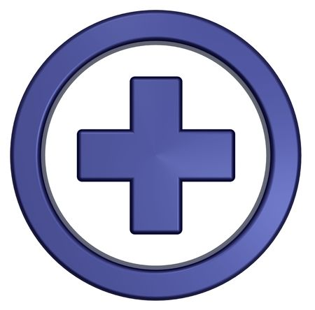 medical help: Blue cross in the circle isolated on white.  Computer generated 3D photo rendering.