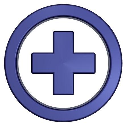 emergencia medica: Cruz Azul en el c�rculo aislado en blanco. Procesamiento de fotos 3D generados por ordenador.