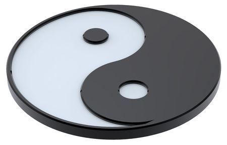 taijitu: Black and white Yin-Yang, symbol of harmony. Computer generated 3D photo rendering.