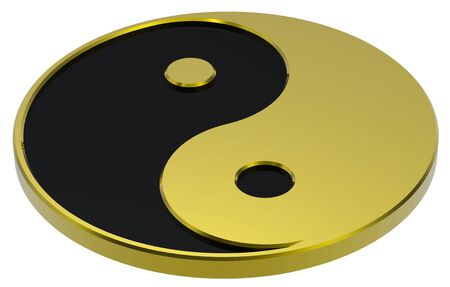 Gold Yin-Yang, symbol of harmony. Computer generated 3D photo rendering. photo