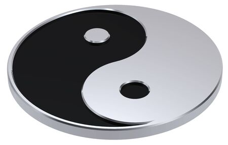 Silver Yin-Yang, symbol of harmony. Computer generated 3D photo rendering.  photo