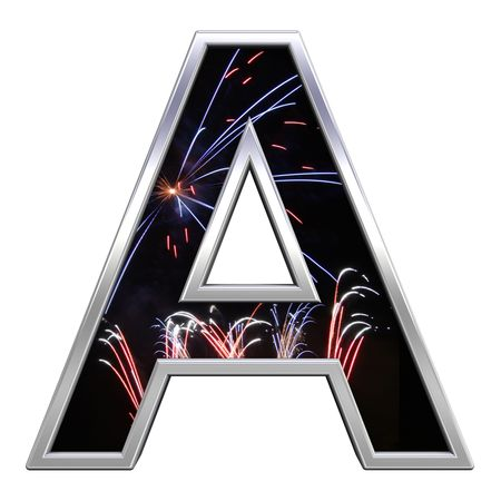 newyear night: One letter from firework with chrome frame alphabet set, isolated on white. Computer generated 3D photo rendering.