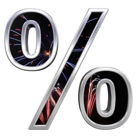 Percent sign from firework with chrome frame alphabet set, isolated on white. Computer generated 3D photo rendering. photo