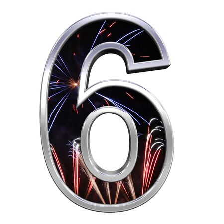 One digit from firework with chrome frame alphabet set, isolated on white. Computer generated 3D photo rendering. photo