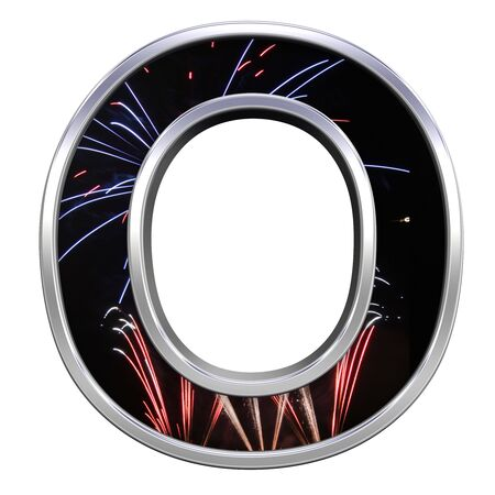 One letter from firework with chrome frame alphabet set, isolated on white. Computer generated 3D photo rendering. photo