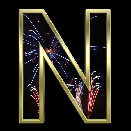 typescript: One letter from firework with gold frame alphabet set, isolated on white. Computer generated 3D photo rendering. Stock Photo